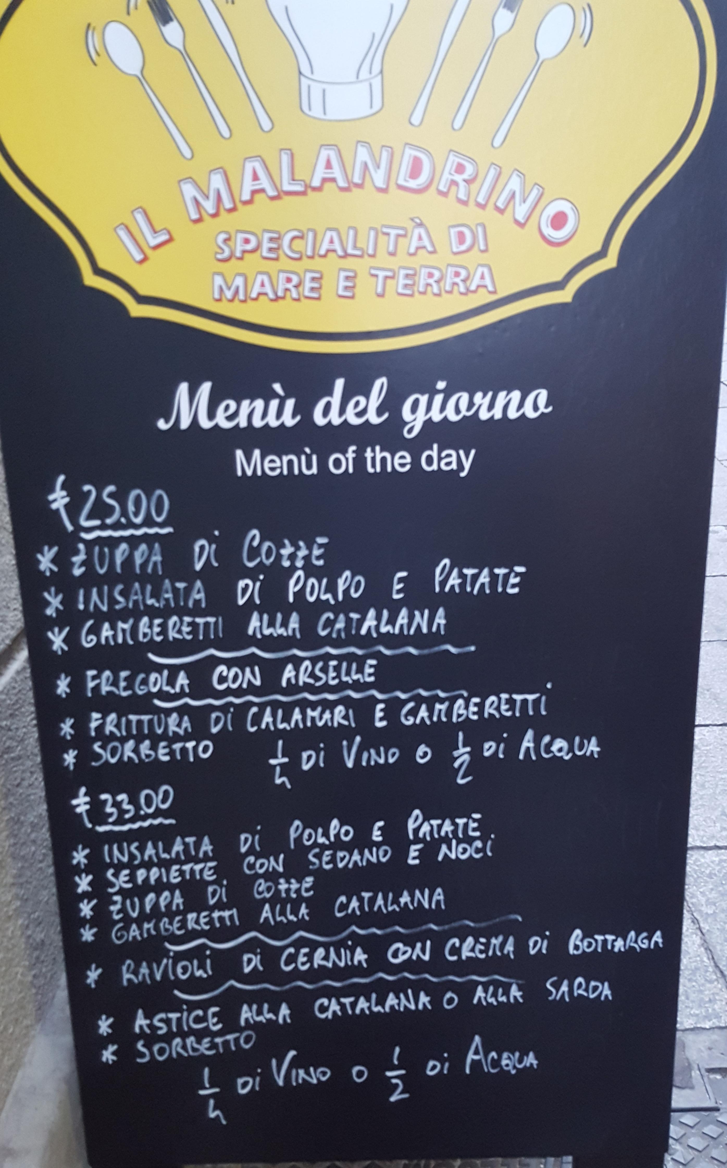 Malandrino menu