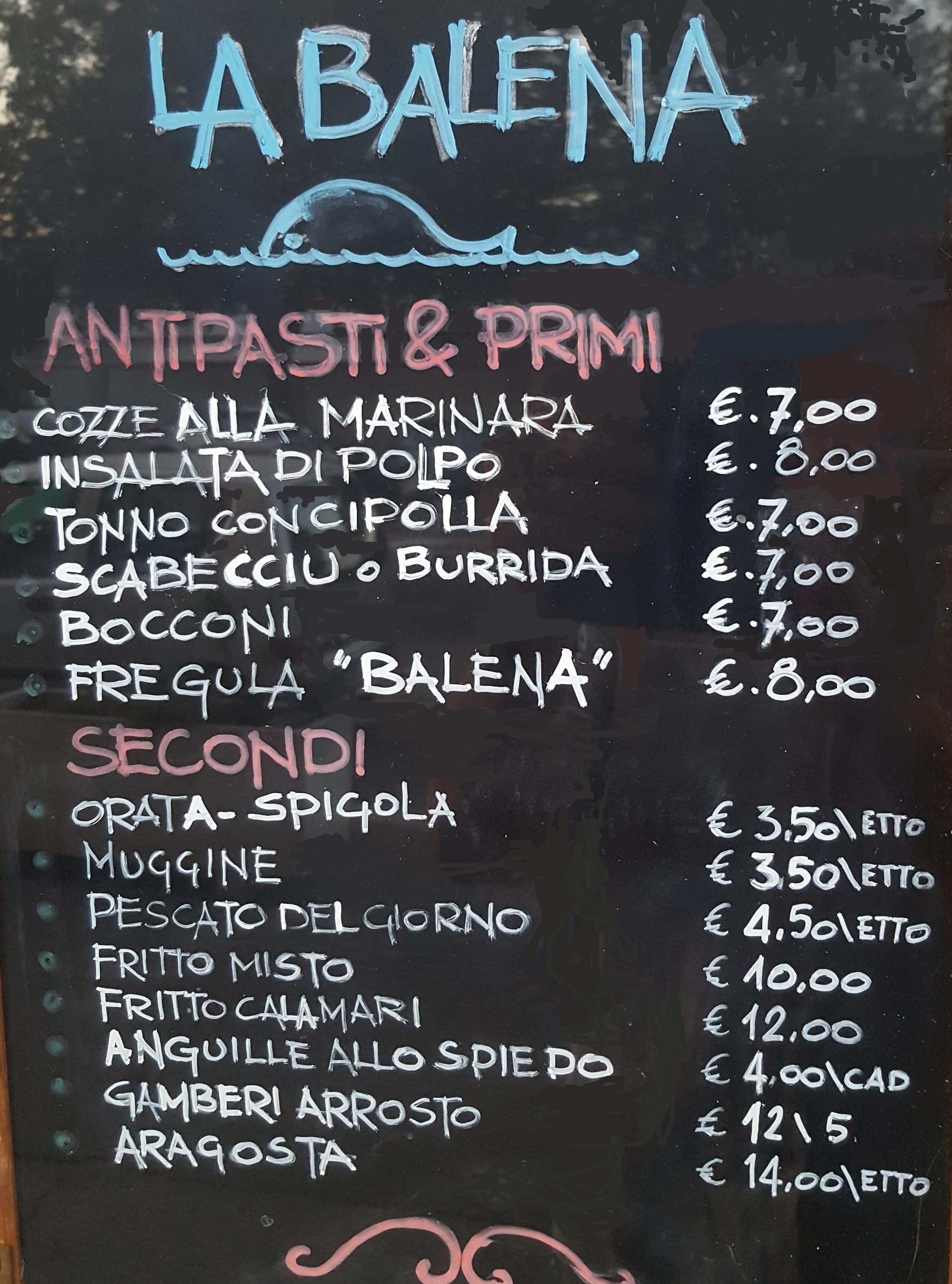 Menù esposto